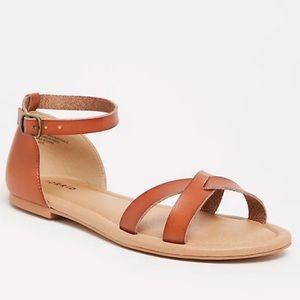 Torrid COGNAC FAUX LEATHER CRISSCROSS SANDAL (WW)